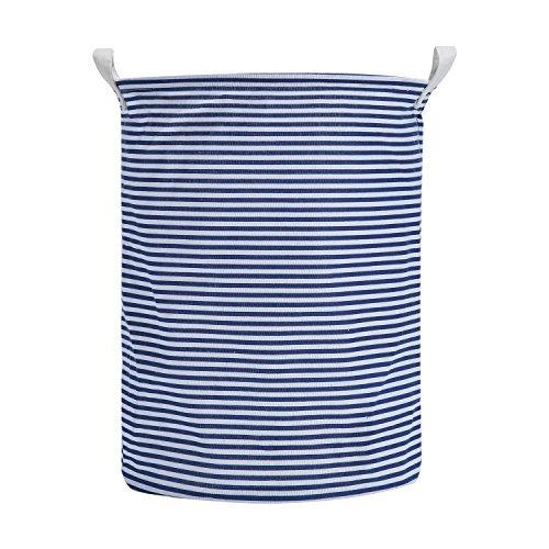 Large Storage Bin, Large Storage Basket – Folding Cyclindric Waterproof of Canvas Fabric Kids Laundry Basket