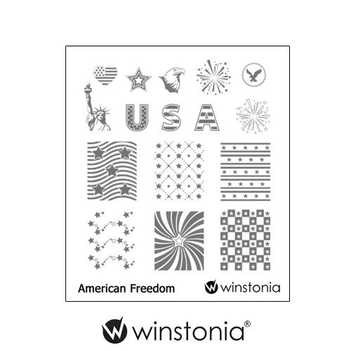 Winstonia Nail Art Stamping Plate Image Manicure Patriotic USA (American Freedom)