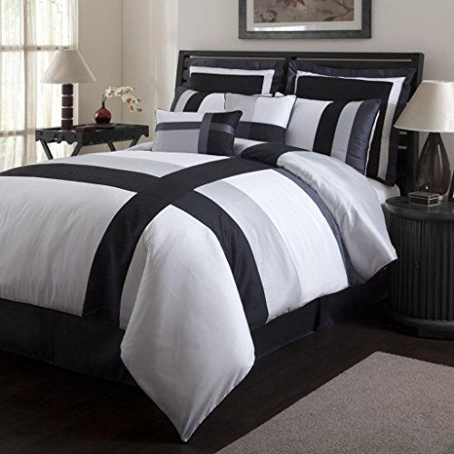 Legacy Decor 8 pc. California King Size Bella Comforter Set with Black, White and Grey Stripes,  ...