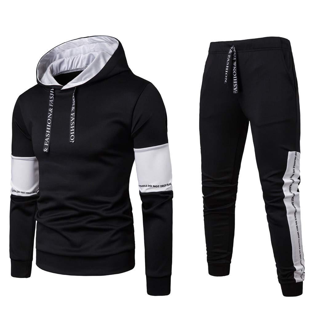 SSYUNO Hoodies for Men Autumn Winter Patchwork Sweatshirt Top Pants Sets Sport Suit Tracksuit Sets Black