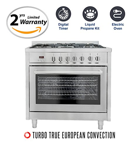 Price comparison product image Cosmo F965 36 in. Propane and Electric Freestanding Professional Style Range with 3.8 cu. ft. Convection Oven,  5 Burners,  in Stainless Steel,  Includes LP Liquid Propane Conversion Kit