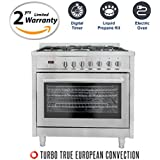 Cosmo F965 36 in. Propane and Electric Freestanding Professional Style Range with 3.8 cu. ft. Convection Oven, 5 Burners, in Stainless Steel, Includes LP Liquid Propane Conversion Kit
