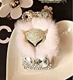 ACC5Star(TM) iPhone 6 Plus Case, Deluxe Crystal Heart Diamond Gold Fox iPhone 6 Plus Clear Case Warm Soft Rabbit Fur Cover Case for Apple iPhone 6 Plus (5.5 inch) + High Quality Random Color Stylus + Green Soft Clean Cloth with Logo