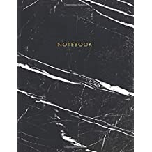 Notebook: Classic Black and White Marble with Gold Lettering - Marble & Gold Journal   150 College-ruled Pages   8.5 x 11 - A4 Size