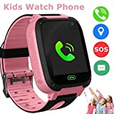 Kids Smart Watch Phone, LBS/GPS Tracker Smart Watch for 3-12 Year Old Boys Girls with SOS Camera Sim Card Slot Touch Screen Game Smartwatch Outdoor Activities Toys Birthday Gift (Pink)