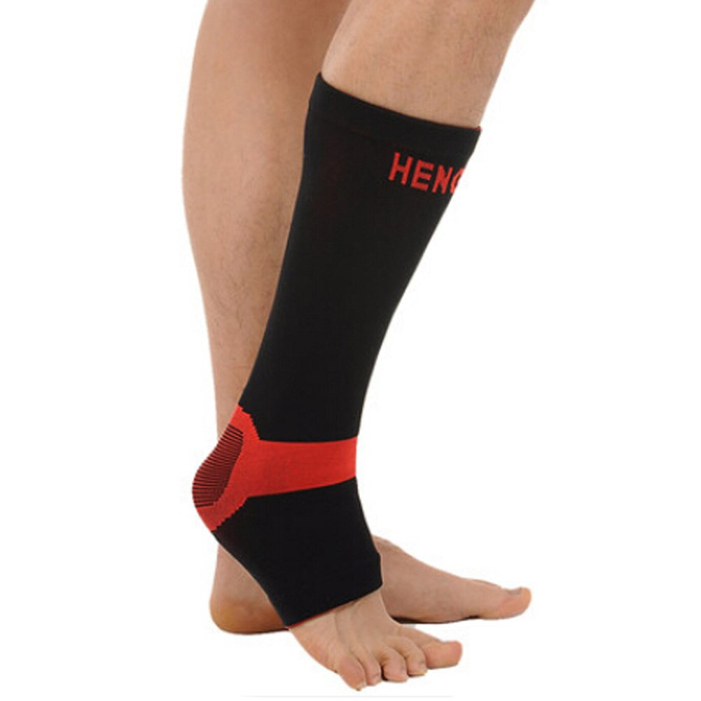 Blancho Set of 2 Leg Guard Sports Safety Leg Sleeve Protector Free Size,Black//Red