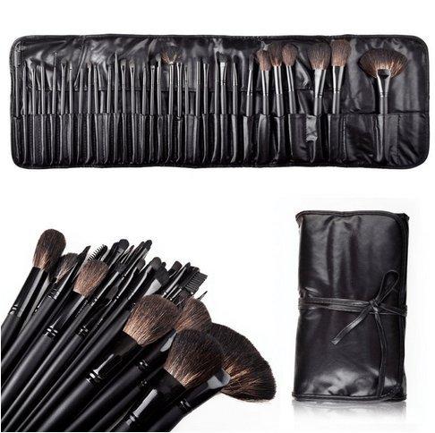 32pcs Элегантный Professional Soft Cosmetic бровей Тени для макияжа Brush Set Kit + кожаный чехол