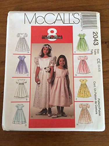 McCalls Sewing Pattern 2043 Girls Party Dress Flower Girl 1st Communion Veil Size 4 to -