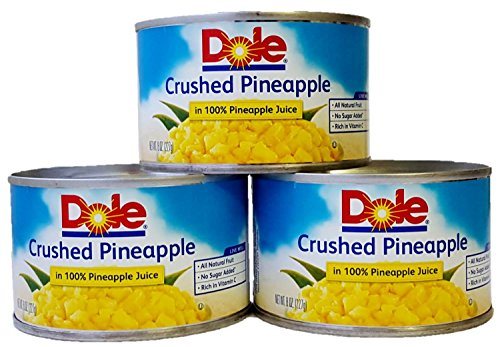- Dole Crushed Pineapple in 100% Pineapple Juice 8 Oz. Can (Pack of 3).