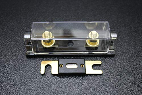 (1) Pack 0 2 4 6 8 Gauge ANL Fuse Holder W/ (1) 500 AMP Gold Wafer FUSES Wire