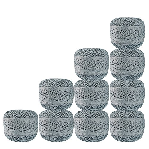 Bunch of 10 Pcs Gray Color Cotton Crochet Thread Cross Stitch Knitting Doilies Skeins Lacey Craft {32} by CraftyArt