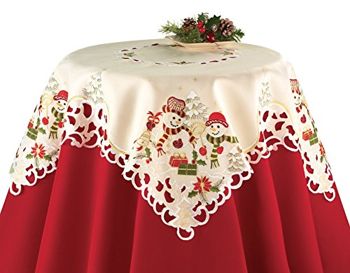 Snowman Couple Christmas Table Linens, Square