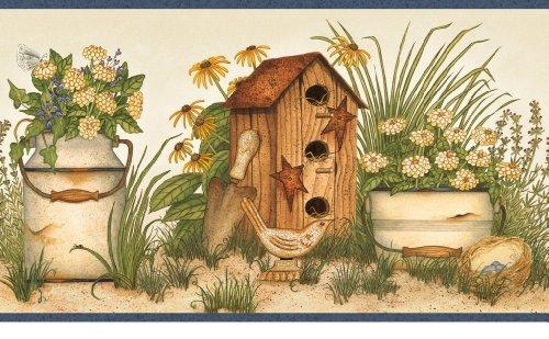 (Chesapeake Angels and Ivy II AAI08053B Buckets Of Blooms Wallpaper Border)
