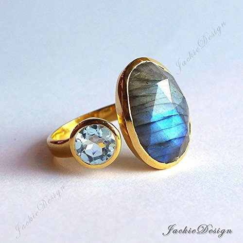 Labradorite Blue Topaz Size 5 Stackable Cocktail Gold Plated Sterling Silver Ring JD12