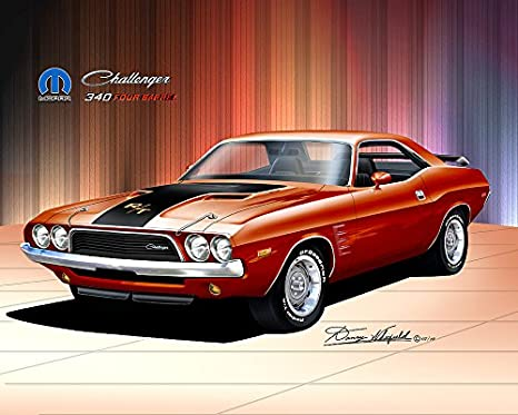 Amazon Com 1972 1973 Dodge Challenger Burnt Orange Art Print Poster By Artist Danny Whitfield Size 20 X 24 Posters Prints