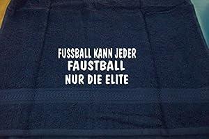 Fußball kann jeder, Faustball nur die Elite; Badetuch Sport, dunkelblau