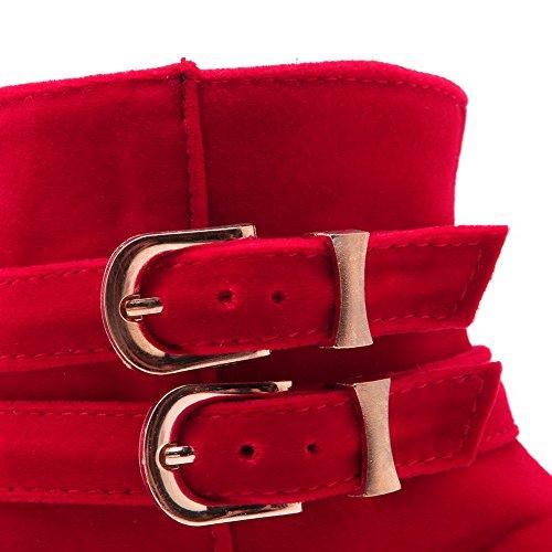 AllhqFashion Mujeres Cremallera Puntera Redonda Cuña Caña Baja Botas con Hebilla Rojo