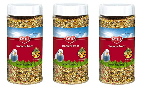 (Kaytee 3 Pack of Tropical Treat, 11 Ounces each, Millet Grain and Fruit Snack for All Parakeets  )