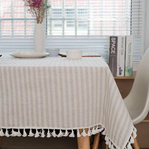 (Meiosuns Tablecloth Striped Fringe Table cloth Rectangular Tablecloths Cotton Linen Table Cover Suitable for Home Kitchen Decoration,Various Sizes (Apricot/White Stripes, 55