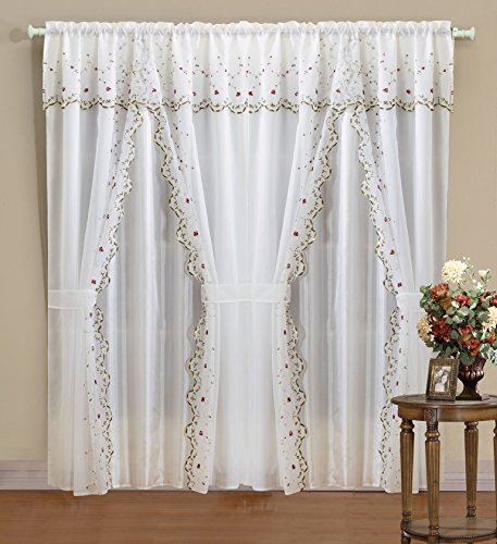 Luxurious Classic Style Zelda Embroidered Curtain Set 120″x84″ Burgundy 2 Panel with sheer backing, Valance Window Treatment & Tie Backs