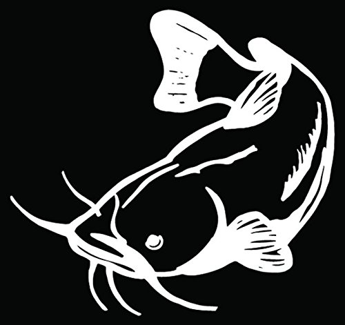Catfish Fish Fishing Car Truck Window Bumper Vinyl Graphic Decal Sticker- (6 inch) / (15 cm) Wide GLOSS WHITE Color