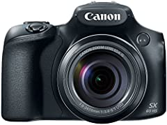 With Canon's Power Shot SX60 HS digital camera, you will zoom like never before to see craters on the moon, wildlife from afar and your child's face on a crowded school stage. The Power Shot SX60 HS gives you the reach to capture it all. The ...