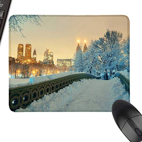 Winter Anti-Slip Mouse Mat Central Park Winter Season with Skyscrapers and Snow Bow Bridge Manhattan New York Laptop Desk Mat, Waterproof Desk Writing Pad 11.8