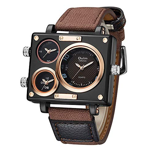 PHCOOVERS Men's Military Sport Multi Time Zone Canvas Band Square Dial Analogue Quartz Watch-Brown