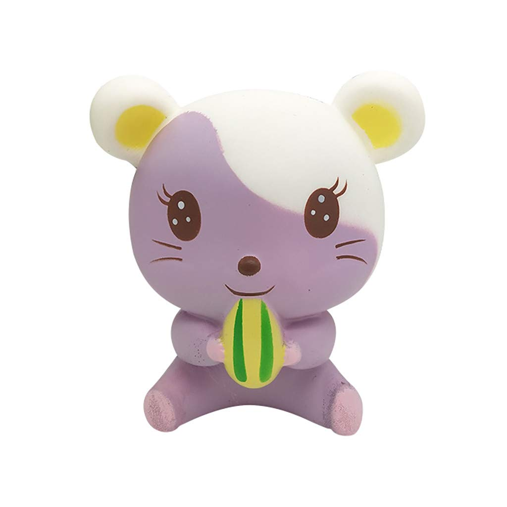 Binory Mini Adorable Purple Hamster,Kawaii Squeeze Squishy Scented Slow Rising Decompression Toy,Soft Baby Cute Animals Stress Reliever Toy,Home Phone Decor Anxiety Reliever Toys for Kids