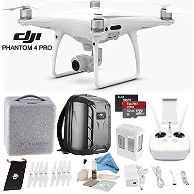 DJI Phantom 4 Pro Quadcopter w/ Backpack Bundle: Includes Phantom 4 Battery, Shockproof Backpack, SanDisk 32GB Ultra MicroSD Card and more... by DJI