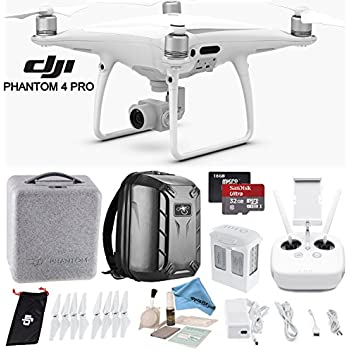 DJI Phantom 4 Pro Quadcopter w/ Backpack Bundle: Includes Phantom 4 Battery, Shockproof Backpack, SanDisk 32GB Ultra MicroSD Card and more...
