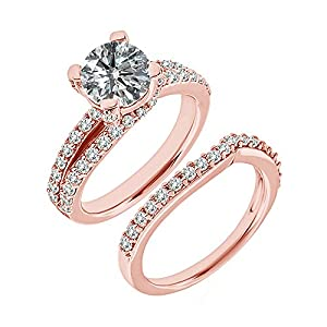 1.7 Carat G-H I2-I3 Diamond Engagement Wedding Anniversary Halo Bridal Ring Set 14K Rose Gold