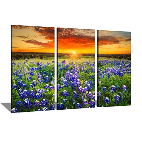 (Floral Landscape Canvas Wall Art: Blooming Lavender Field at Summer Sunrise with Yellow Sky, Photographic Artwork Paintings for Home Decoration)