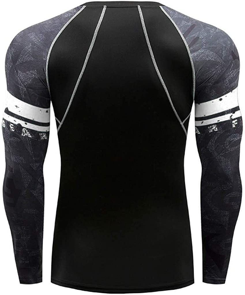Mens Athletic Workout T Shirts Long Sleeve Yoga Fitness Print Soft T-Shirt Tops