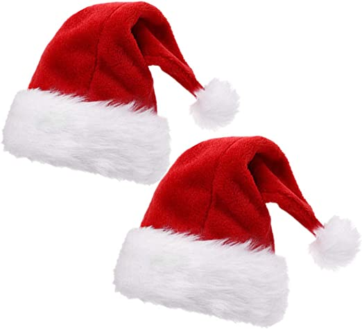 Alimitopia 2pcs Christmas Santa Hat Double Layer Luxury Plush Christmas Santa Claus Cap Xmas Hat For Adults Clothing Amazon Com