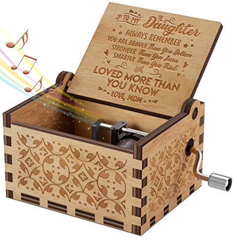 Engraved Music Box - You are My Sunshine, Gift for Daughter from Mom - You Are Stronger Than You Seem (B - From Mom) ()