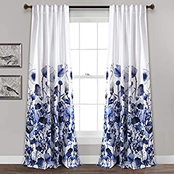 Lush Decor, Navy Zuri Flora Curtains Room Darkening Window Panel Set for Living, Dining, Bedroom (Pair), 84