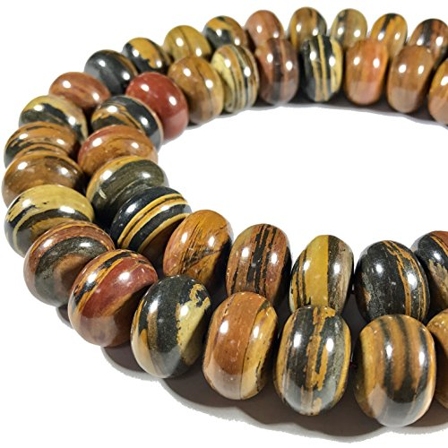 Petrified Wood Beads ([ABCgems] Madagascar Chocolate Petrified Wood AKA Fossilized Wood (Beautiful Tiger Matrix) 14mm Smooth Rondelle Beads)
