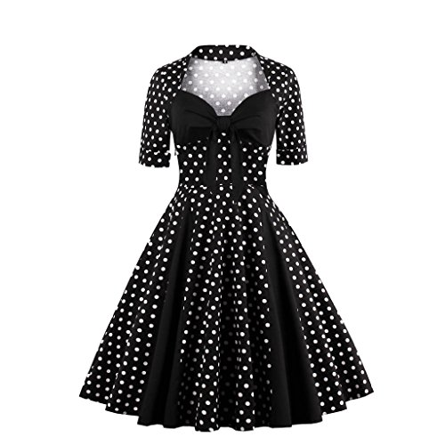 Retro Schwarz 50er EU 40 L Rockabilly Vintage M1366 Damen Cocktail Kleid DISSA xTwqZHtBn