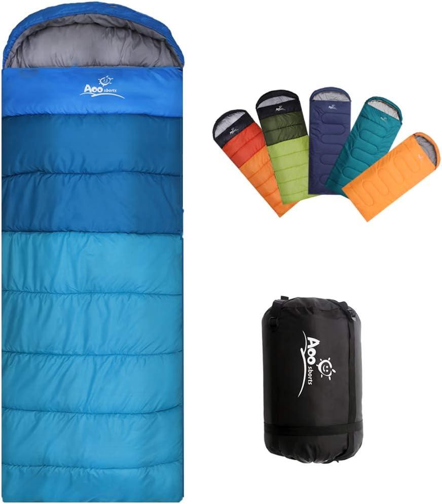Waterproof 3 Season Adult Envelope Sleeping Bag Camping Hiking Suit Case Zip