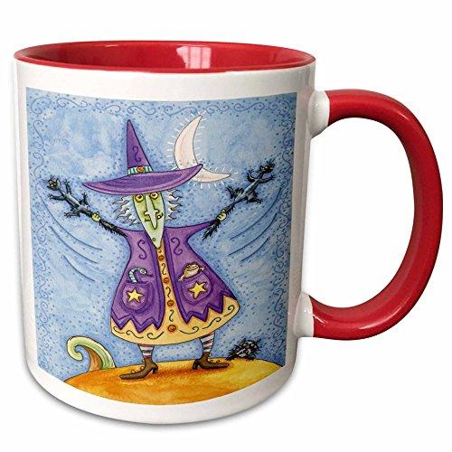 3dRose Dooni Designs Halloween Designs - Funny Halloween Witch Swinging Black Cats - 15oz Two-Tone Red Mug -