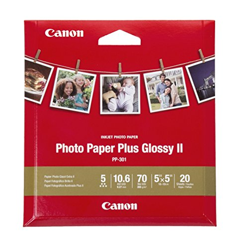 Canon Glossy Photo Paper Plus II, Square Printing for TS9020, TS8020, TS6020, TS5020 Printers, 5'x5' (20 Sheets)