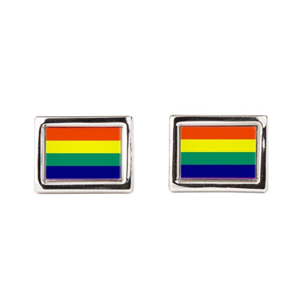 Gay Pride Rainbow Flag HD Rectangular Royal Lion Cufflinks
