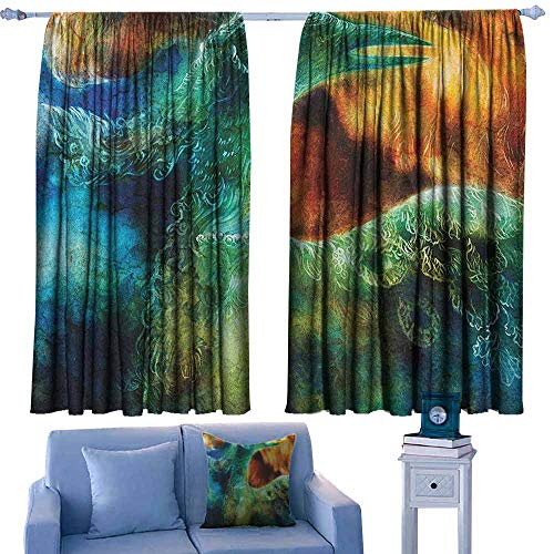 GAAGS Outdoor Patio Curtains,Fantasy Mythical Legendary Phoenix Rebirth Long New Life from The Ashes Sun Exceptional Image,for Bedroom,Nursery,Living Room,W63x72L Inches Multi (Outdoor Patio Curtains Phoenix)