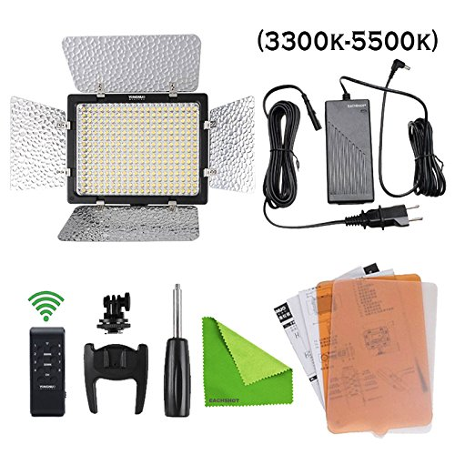 Yongnuo YN300-III 3200K-5500k Color Temperature Pro LED Video Light for DV Camcorder Canon Nikon Pentax Olympus Samsung Panasonic JVC + 1 Ac-Adapter by YONGNUO