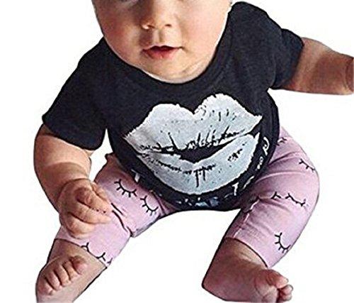 Di T Neonate Neonato Aliven Stampa Vestiti Rosa Abiti shirt Regolati 2016 Labbro E Nero Pants qaYIfa