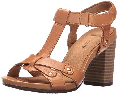 Clarks Women's Banoy Valtina Dress Sandal, Tan Leather, 9 W US by CLARKS
