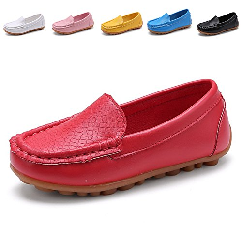 L-RUN Boy's Girl's Classic Penny Loafers PU Leather Slip-On Sneakers Oxford Shoes Red 9.5 M US Toddler