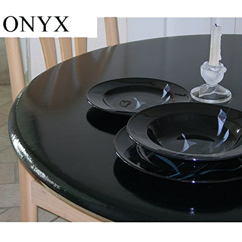 Lacquer Tops Large Round Fitted Table Cover for Special Occasions and Holidays doubles as protective table pad under linens for large round tables 42'' to 62'' diameter - High Gloss - Onyx Black by Lacquer Tops (Image #4)