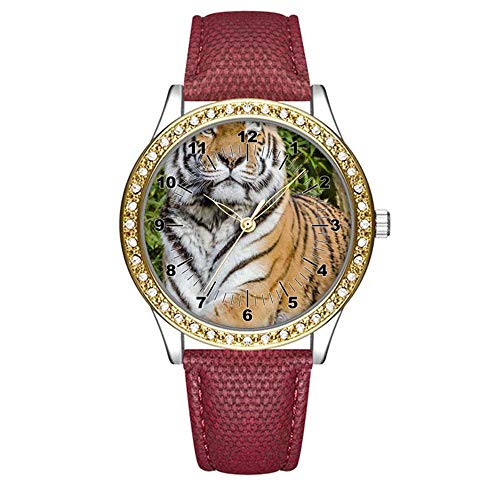 Woods Watch Tiger Ladies (Diamond Womens Leather Watch,Fashion Casual Gold Watches for Women,Waterproof Ladies Brown Wrist Watch 322.Tiger on Top of Brown Wood Tree Trunk Near Green Plant(RED))
